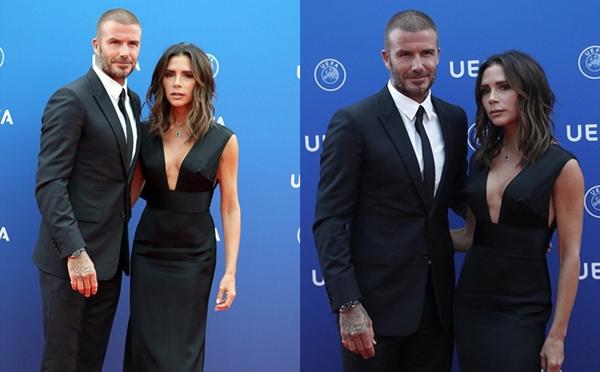 Victoria và Beckham tại sự kiện của UEFA ngày 30/8.