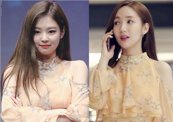 Màn đụng hàng bất phân thắng bại của Jennie và Park Min Young. Thành viên Black Pink mặcchiếc váy vàng hở vai họa tiết hoa nhí nữ tính trong một buổi fansign. Trong khi đó, Park Min Young cũng từng diện thiết kế tương tự trong tập 5 phim Thư ký Kim sao thế?.