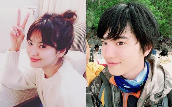 Song Hye Kyo vàSung Jong (Infinite) giống nhau đến ngỡ ngàng.Ở góc chụp nghiêng, cả hai như chị em, với đôi mắt và khuôn miệng tương đồng.