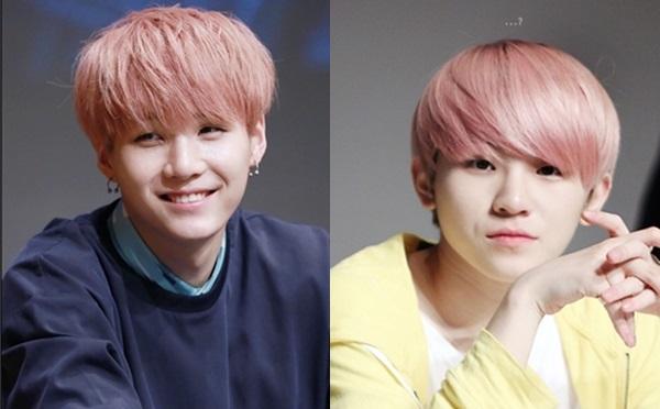 Khi cùng nhuộm tóc hồng, Suga của BTS (trái) vàWoo Zi nhóm Seventeen trông rất giống nhau.