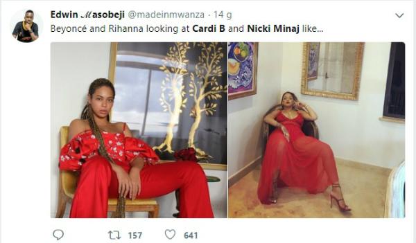 Còn đây là ảnh chế phản ứng của Beyonce và Rihanna khi xem Cardi và Nicki.