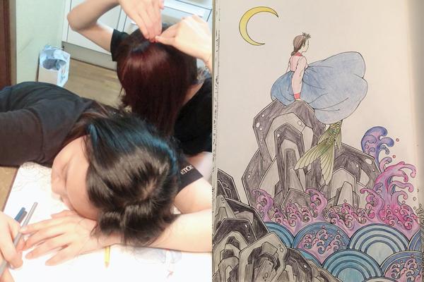 Um Ji khiến fan trầm trồ vì tài vẽ quá đỉnh. Cô nàng ngủ gục trên bàn trong nhà bếp khi đang vẽ và bị cô chị Yuju chụp trộm.