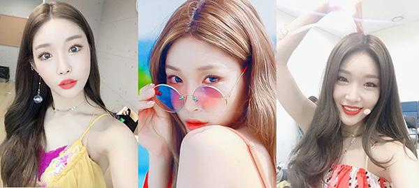 Trong MV và các sân khấu biểu diễn của Love U, Chungha đã thử rất nhiều tông màu trang điểm hoàn hảo cho mùa hè: vàng quýt, cam, đỏ cherry và sắc hồng tươi.