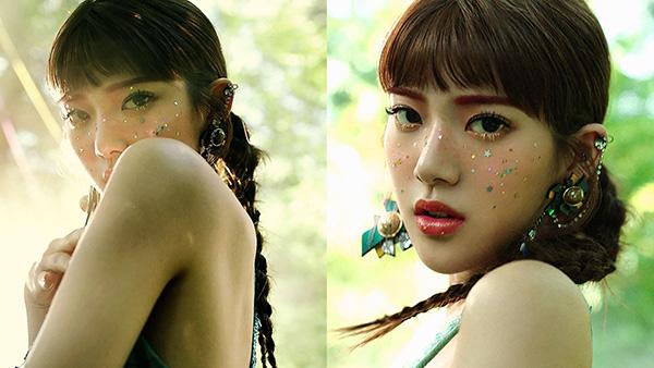 MV ca khúc nhạc jazz Is Who của Minseo gợi nhớ đến hình ảnh của Alice ở xứ sở thần tiên. Do đó, phong cách makeup của cô nàng cũng được biến hóa như thuộc về thế giới mộng mơ, với những ngôi sao lấp lánh điểm xuyết trên gương mặt, kẻ lông mày hồng, và đôi hàng mi trắng đen.