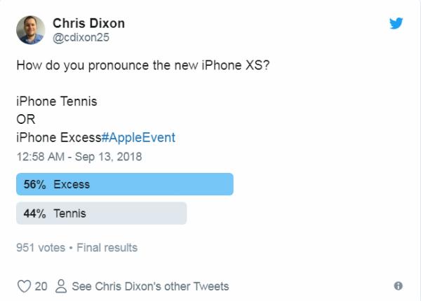 Trong một cuộc bình chọn hài hước trên Twitter về việc lựa chọn cách đặt tên iPhone XS, 56% người sử dụng mạng đã quyết địnhphát âm là Excess trong khi 44% còn lại trung thành với Tennis.