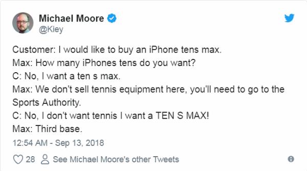 Một đoạn hội thoại về sự nhầm lẫn trong viêc gọi tên sản phẩm iPhone XS đã được dựng lên mang tính chất giải trí:Khách hàng: Tôi muốn mua