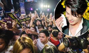Noo Phước Thịnh toát mồ hôi vì fan hò hét, vây kín đến tắc đường