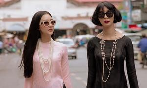"""Xuân Lan thị phạm catwalk cho 'nàng thơ xứ Huế"""" Ngọc Trân"""