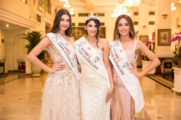 Top 3 Hoa hậu Áo dự chung kết Hoa hậu Việt Nam 2018.