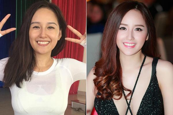 Mai Phương Thúy không thay đổi quá nhiều trước - sau trang điểm vì Hoa hậu Việt Nam 2008vốn có mũi cao và nụ cười rạng rỡ.
