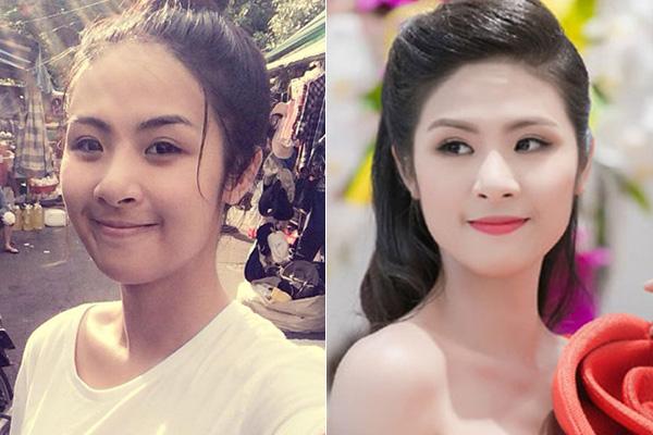 Hoa hậu Việt Nam 2010 Ngọc Hân có làn da ngăm đen, vì thế khi đi sự kiện, cô thường xuyên phải trang điểm nền kỹ lưỡng.