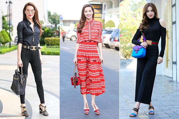Chiếm đa phần trong tủ giày của Hà Hồ là những đôi cao gót đến từ thương hiệu ruột Gucci. Hầu như những mẫu mã mới nhất, kinh điển nhất của hãng này nữ ca sĩ đều sở hữu. Giá của những đôi giày này khoảng từ 20-50 triệu đồng, kiểu dáng sang chảnh, bắt mắt.