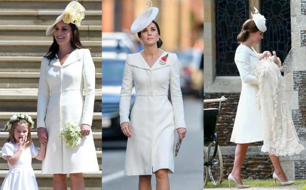 Sở hữu rất nhiều bộ cánh hàng hiệu đắt tiền nhưng Kate vẫn rất thông minh khi biết tái sử dụng đồ cũ hợp lý. Trong ảnh là bộ váy Alexander McQueen nổi tiếng mà Kate từng diện 3 lần. Lần đầu là tại lễ rửa tội của Công chúa Charlotte năm 2015. Lần thứ 2 Kate mặc là tại một sự kiệnở Belgium năm 2017. Gần nhất là tại đám cưới của Meghan và Harry vào tháng 5/2018.