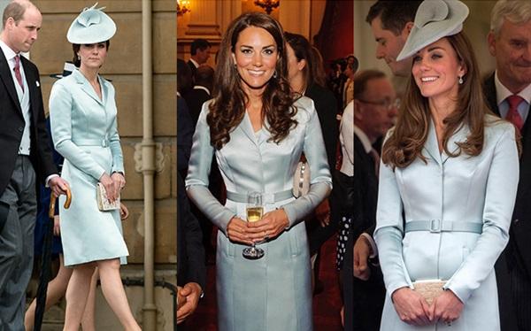 Trong bữa tiệc tại cung điện Buckingham ngày 16/5/2017 (trái), Kate diện bộ đầm giả vest nền nã bằng lụa satin của Christopher Kane. Lần đầu cô mặc thiết kế này là vào tháng 7/2012 (giữa). Tại một sự kiện năm 2014, Kate cũng từng lựa chọn bộ váy này cùng chiếc mũ Sweet Delight tông xuyệt tông.