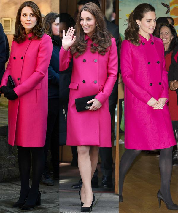 Áo khoác dạ màu hot pink của Mulberry cũng là một item yêu thích được Kate ưu ái lựa chọn mặc nhiều dịp.