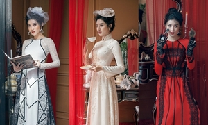 Huyền My ma mị với áo dài phong cách hoàng gia