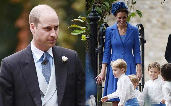 Tại đám cưới, hoàng tử William diện áo vest chỉn chủ. Công nương Kate vẫn xinh đẹp như thường lệ với bộ đầm Catherine Walker cùng mũ đội đầu tông xanh nổi bật.