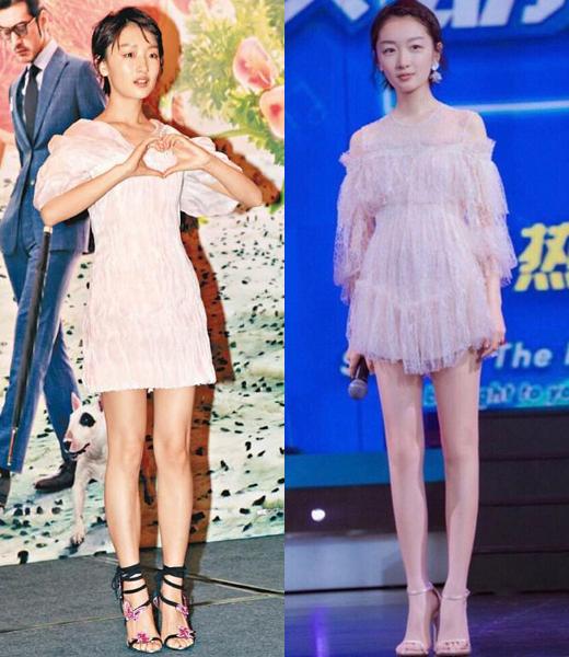 Châu Đông Vũ vốn có cặp chân nhỏ nhưng vẫn bị photoshop là phẳng vùng đầu gối, trông thẳng đuột, đơ cứng và dài như cà kheo, rất giả. Thực tế cô nàng chỉ cao khoảng 1,6m nhưng sau khi chỉnh sửa, nữ diễn viên bỗng cao như 1,7-1,8m.