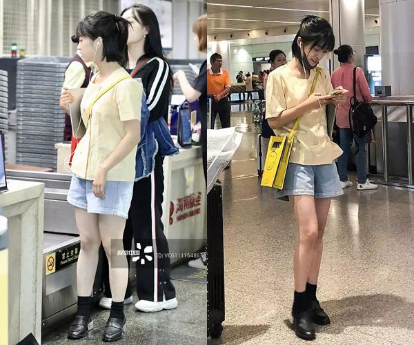 Cô nàng Sam Thái Thẩm Nguyệt có vóc dáng thấp bé, chân ngắn và đùi thô. Trong ảnh tự chụp và bị chụp, có thể thấy rõ sự biến hóa ở đôi chân của nữ diễn viên.