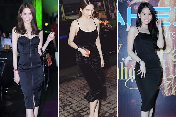 Những chiếc váy này đều có màu đen trơn, tôn lên số đo ba vòng của Ngọc Trinh.