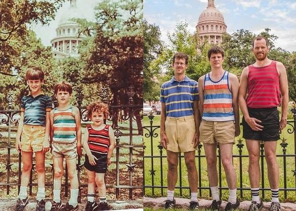 29 năm sau, tôi cùng 2 anh em đã tái tạo lại tấm hình chụp vào kì nghỉ tại Texas State Capitol.
