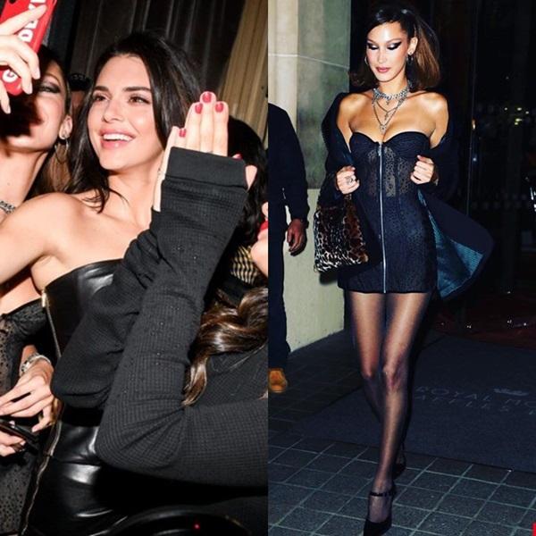 Cả hai diện style off-duty sành điệu với những chiếc LBD kinh điển. Kendall mặc váy quây da màu đen còn Bella ưa chuộng style xuyên thấu. Fan bình luận thật khó để chọn ra ai đẹp hơn trong bữa tiệc này.