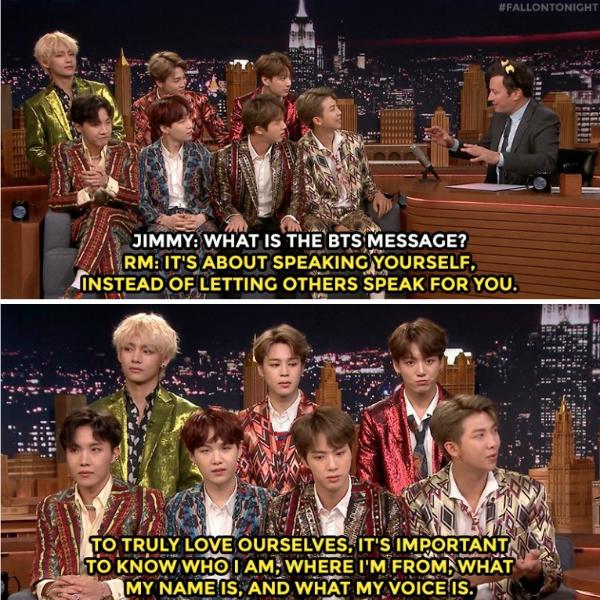 BTS trò chuyện cùng Jimmy Fallon về chiến dịch Love Yourselfvà những thông điệp gửi đến fan trên toàn thế giới.