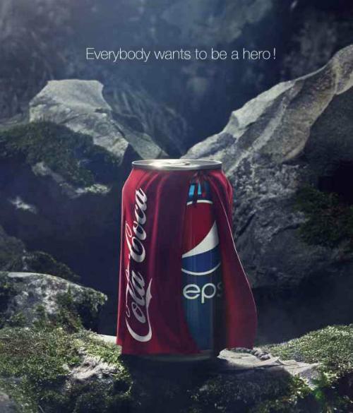 Không chấp nhận bị dìm hàng, Coca Cola đã phản lại Pepsi bằng chính hình ảnh của đối phương. Hãng này đăng lại bức ảnh của Pepsi và thay đổi thông điệp thành Ai cũng muốn trở thành anh hùng. Ngay lập tức công chúng sẽ hiểu rằng Pepsi chỉ là một cậu bé luôn mong ước được to lớn, vĩ đại và có sức mạnh như của... Coca Cola. Và thế là màn mỉa mai đối thủ của Pepsi lại trở thành... trò cười cho thiên hạ.