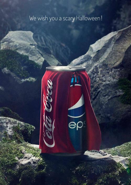 Năm 2013, Pepsi cho ra một ấn phẩm quảng cáo đá đểu đối thủ của họ là Coca Cola. Trong một bức ảnh, hình ảnh lon Pepsi mặc áo choàng in dòng chữ Cola Coca (tránh vi phạm bản quyền với thương hiệu Coca Cola) đưa ra slogan Chúc bạn một mùa Halloween rùng rợn. Thông điệp ngầm ngụ ý: Coca là một loạt giải khát đáng sợ, và Pepsi hóa trang thành Coca để đi hù mọi người.