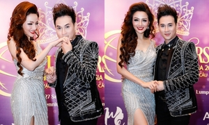 Hoa hậu Diễm Hương ngại ngùng khi Nguyên Vũ hôn tay