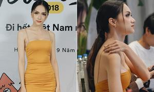 Hương Giang liên tục chỉnh sửa vì diện váy hai dây mảnh 'như sắp đứt'
