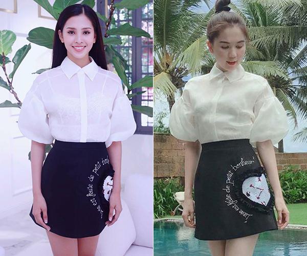 Dù cách nhau tới 10 tuổi nhưng Tiểu Vy và Hoa hậu Việt Nam Hoàn cầu Ngọc Trinh bất phân thắng bại khi cùng mặc một set váy trẻ trung của NTK Đỗ Long.