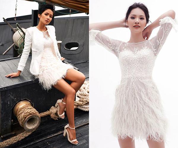 Trang phục này từng được Hoa hậu HHen Niê và Hoa hậu Hương Giang diện trước đó. Mỗi người đẹp mang đến một sắc thái khác nhau cho bộ cánh nữ tính.