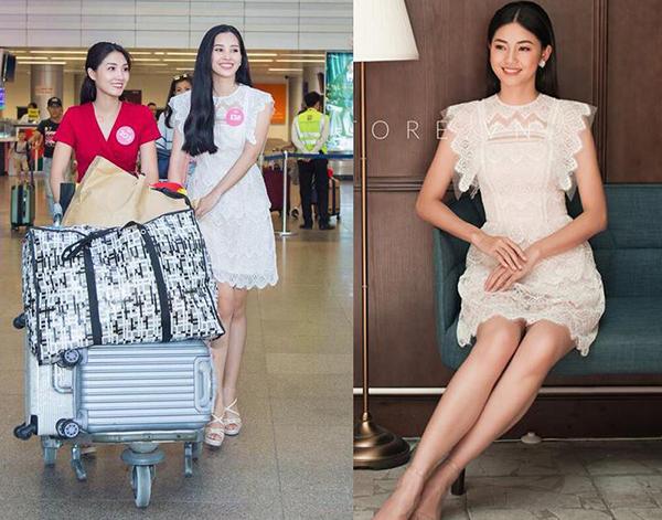 Trước khi được Tiểu Vy mặc ra sân bay trong cuộc thi Hoa hậu Việt Nam, bộ váy ren trắng điệu đà của NTK Nguyễn Quảng đã được Á hậu Thanh Tú diện khá lâu trước đó.