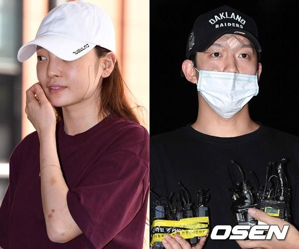 Goo Hara và Choi Jong Bum tại Sở cảnh sát lấy lời khai ngày 17 và 18/9.