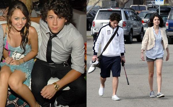 Miley và Selena từng có thời gian hẹn hò với Nick Jonas.
