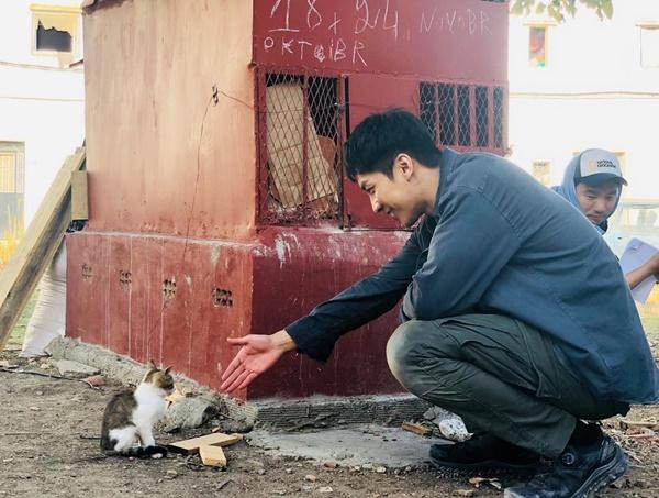 Lee Seung Gi vui vẻ bắt tay làm quen với bé mèo đi lạc ở trường quay.