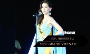 Phương Nga diện đầm dạ hội lộng lẫy hô vang Việt Nam trong họp báo