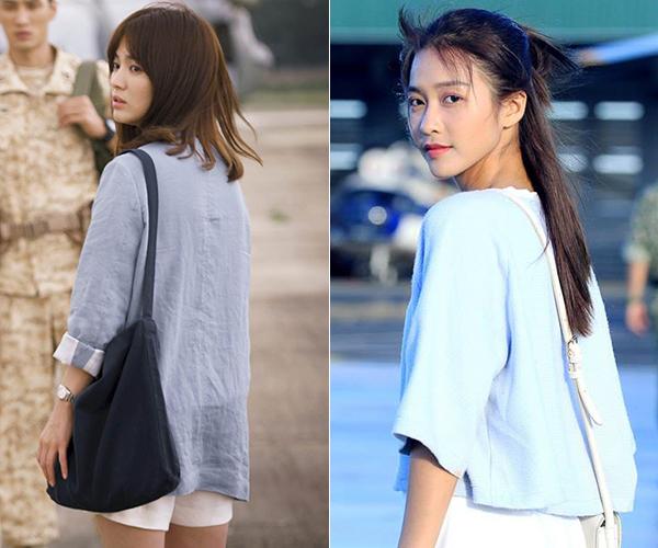 Lúc vô tình gặp lại người thương khi đi tình nguyện, Song Hye Kyodiện bộ cánh mang hai màu xanh trắng rất thanh lịch, thể hiện vẻ dịu dàng của một nữ bác sĩ. Dù không diện blazer nhưng Khả Ngân cũng chọn hai gam màu này để đưa lên trang phục của mình.