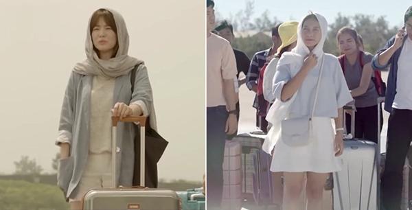 Song Hye Kyo trùm một chiếc khăn lụa mỏng quanh đầu để tránh nắng. Chi tiết này được Khả Ngân tái hiện lại trong bản Việt.