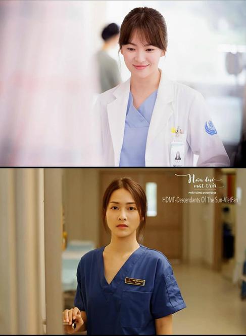 Quần áo bác sĩ của cả hai cũng giống nhau về kiểu dáng. Bên cạnh đó, kiểu tóc của Khả Ngân không khác Song Hye Kyo là bao.