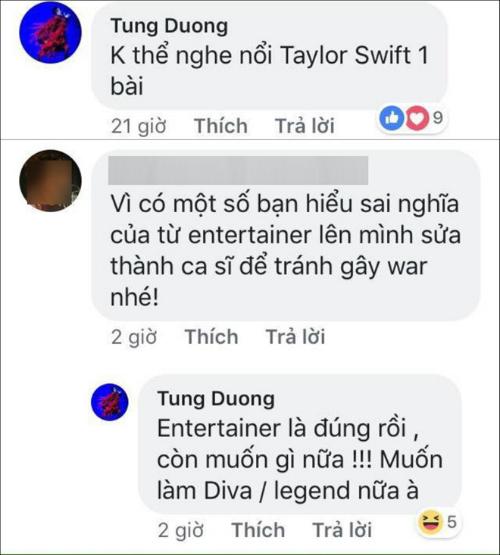 Chia sẻ của Tùng Dương bên dưới bài đăng của fanpage.