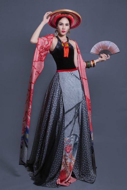 Lệ QuyênÁ khôi Áo dài Lệ Quyên chọn trang phục được lấy ý tưởng từ bộ đồ truyền thống của phụ nữ Dao đỏ để dự thi trang phục dân tộc tại Miss Grand International 2015. Phần thân trang phục là chiếc yếm đào kết hợp cùng mẫu váy đụp của phụ nữ Bắc bộ. Khăm đọm đọc phỉ thúy tạo điểm nhấn. Tuy nhiên, cô không đạt được bất kỳ thành tích nào dù gây chú tại cuộc thi.