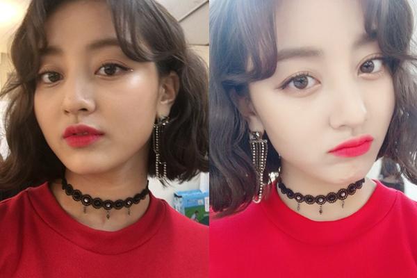 Diện mạo Ji Hyo (Twice) có sự khác biệt trước và sau khi chỉnh sáng.