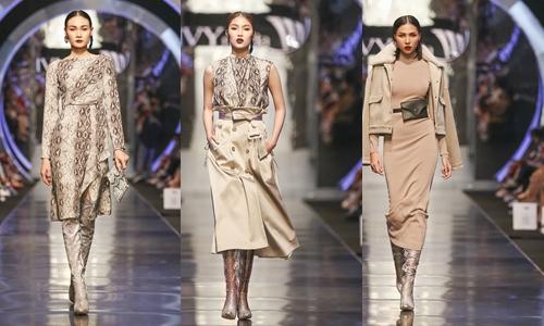 Một thương hiệu Việt mới đây cũng cho ra mắt BST với họa tiết da trăn là gam màu chủ đạo. Được thể hiện trên nhiều tone màu nhưng kiểu trang phục họa tiết da trăn được ưa chuộng nhất vẫn là sự kết hợp của tone màu trắng - xám - đen - be.