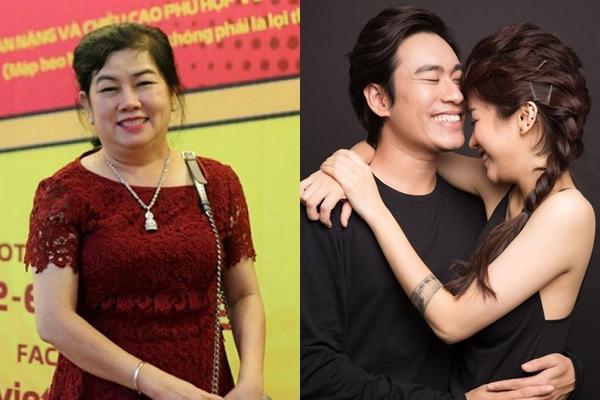 Đại diện NSX phim (trái) và cặp diễn viên An Nguy, Kiều Minh Tuấn