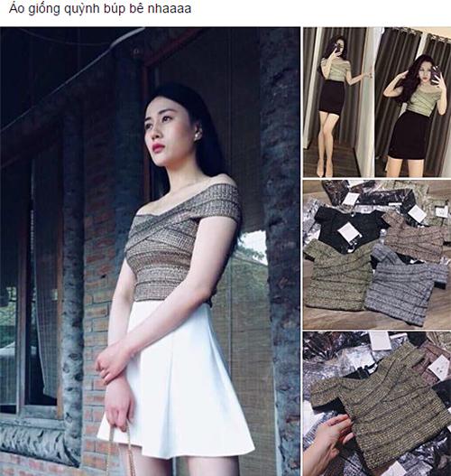 Chỉ cần tìm kiếm từ khóa áo giống Quỳnh Búp bê, bạn sẽ thấy có cả trăm kết quả. Các shop online Việt rất nhanh nhạy trong việc bắt sóng các xu hướng, ăn theo những nhân vật hot.