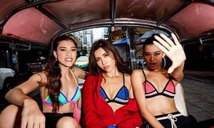 Minh Tú cùng trò cưng nóng bỏng với bikini ở chợ Thái Lan
