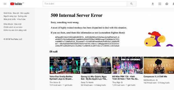 Trang chủ của Youtube báo lỗi.
