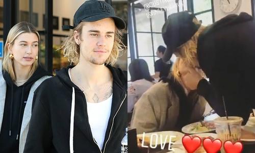 Justin âu yếm hôn Hailey, vui tươi trở lại sau chuỗi ngày xuống tinh thần